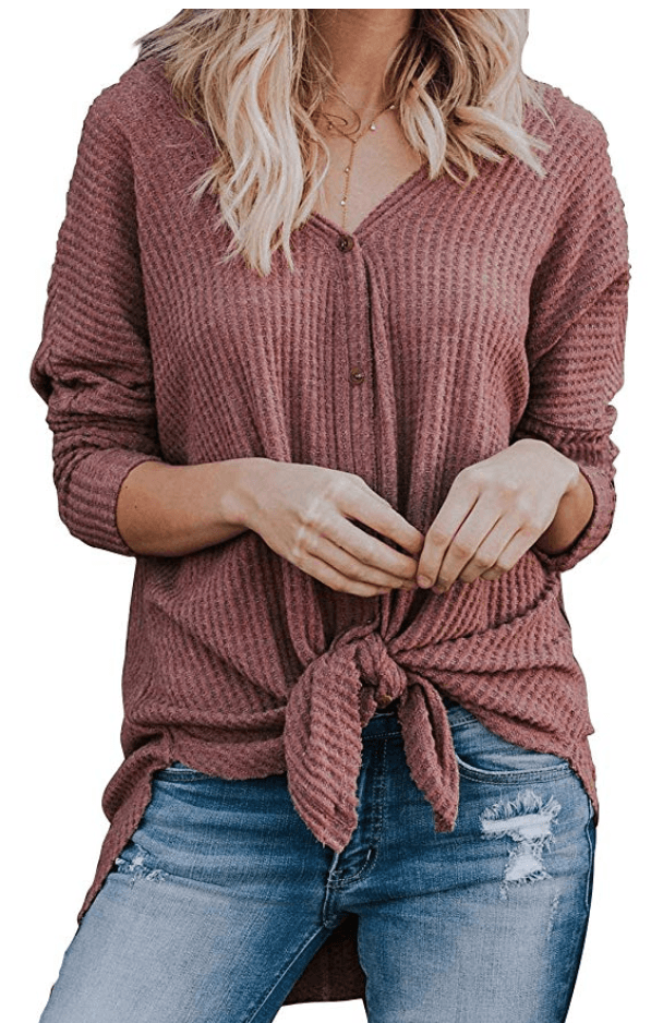 long sleeve tie front tunic
