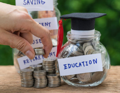 One jar full of money says retirement while another says education